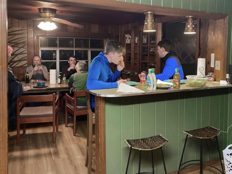 guests at kitchen breakfast bar